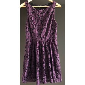 Forever 21 Purple Lace Dress Overlay Black Large